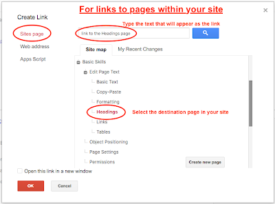 Link Dialog for Site Page