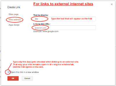 Link Dialog Box Web Address