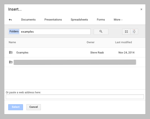 Google Sites Insert Google Drive Dialog Box Image
