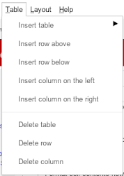 Google Sites Table Menu