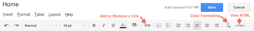 Image: Google Sites Editing Toolbar